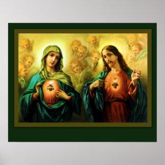Póster Corazón sagrado Jesús y corazón inmaculado de