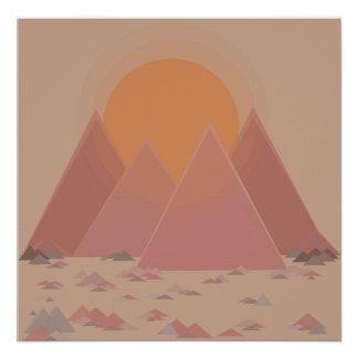 Póster Cordillera en paisaje rocoso en calor que se