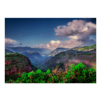 Póster Cordillera tropical de Kauai Hawaii