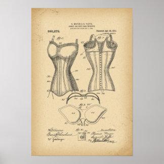Póster Corsé de 1902 patentes y forma del busto por lo