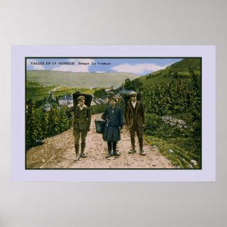 Póster Cosecha 1900 del vino de Mosela Schengen