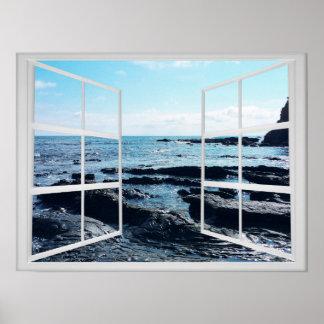 Póster Costa rocosa del océano con el marco de ventana