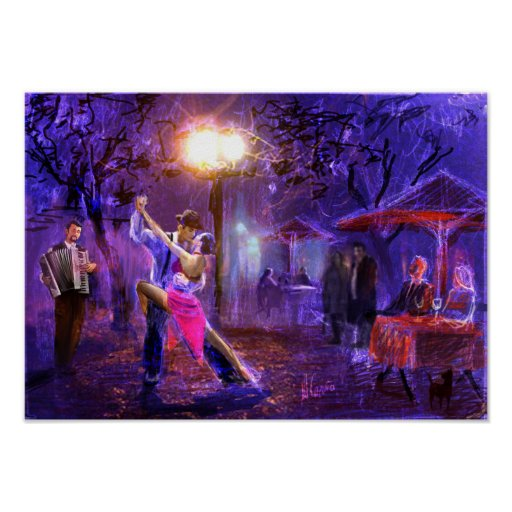 Póster Couple dancing a tango in the night