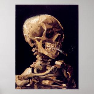 Póster Cráneo de Van Gogh con el cigarrillo ardiente