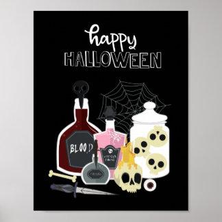 Póster Cráneos y feliz Halloween de los ilustraciones de