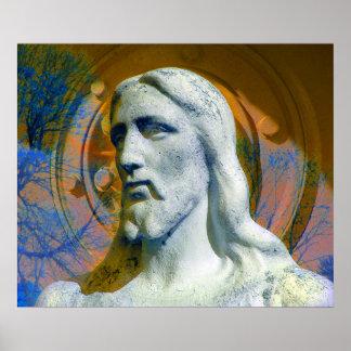 Póster Cristo con el azul anaranjado del halo