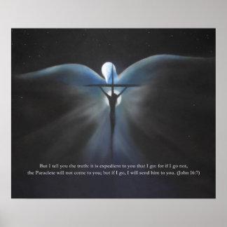 Póster Crucifixión, con el Espíritu Santo, con escritura