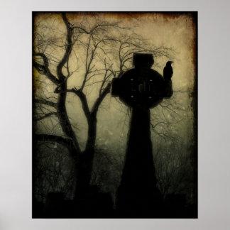 Póster Cruz céltica con el cuervo