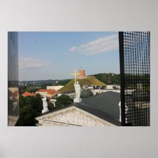 Póster Cruz de Vilna, Lituania, torre