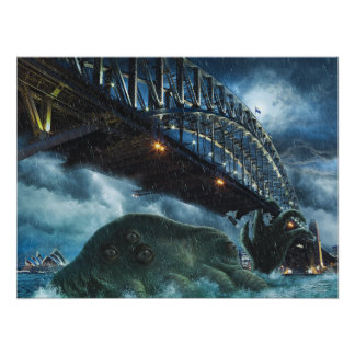 Póster Cthulhu Attacks Sidney Australia