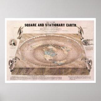 """Póster """"Cuadrado y"""" mapa plano inmóvil de la tierra"""