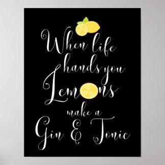 Póster Cuando la vida le da tipografía de los limones
