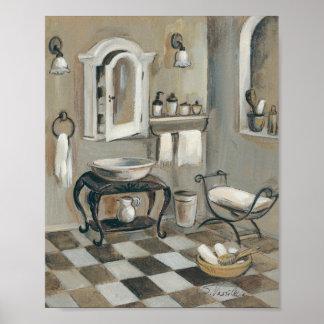 Póster Cuarto de baño francés tejado blanco y negro