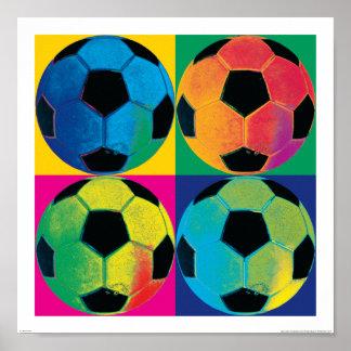 Póster Cuatro balones de fútbol en diversos colores