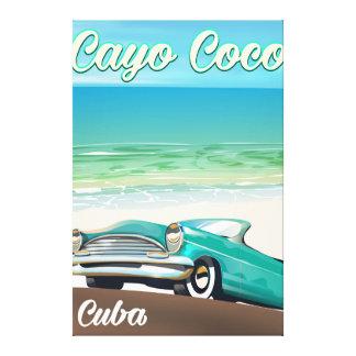 Poster cubano de las vacaciones de los Cocos de Lienzo
