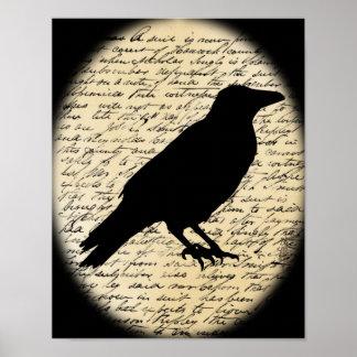 Póster Cuervo fantasmagórico en el poster envejecido del