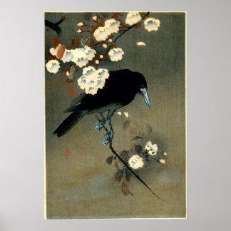 Póster Cuervo y flor de Ohara Koson (1910)