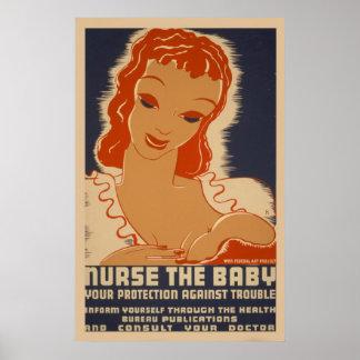 Póster Cuide el poster del vintage de WPA del bebé