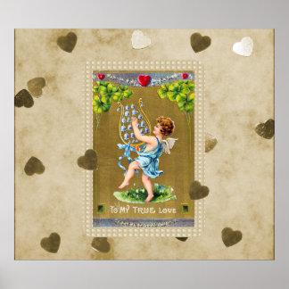 Póster Cupid verdadero de la tarjeta del día de San