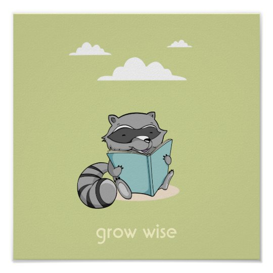 Póster Cute raccoon reading a book baby room green poster