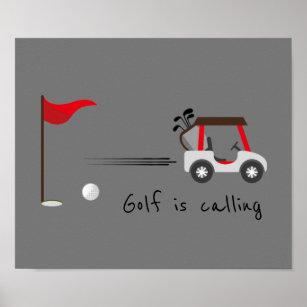 Póster Cute Watercolor Golf Fun Golf llama a la cita