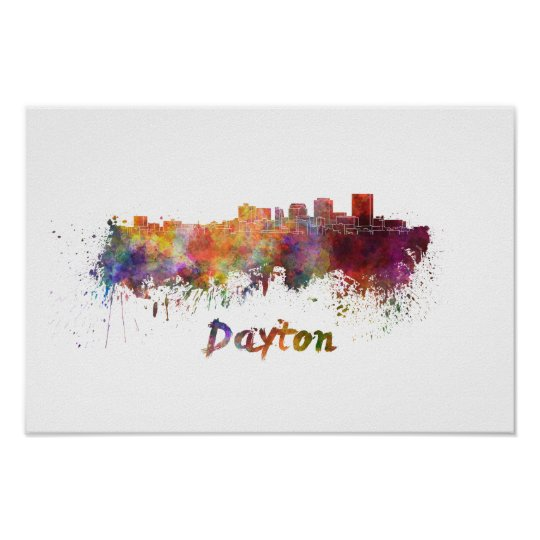 Póster Dayton skyline in watercolor