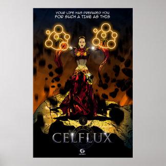 Poster de Celflux que ofrece Okira