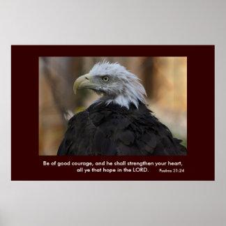 Poster de Eagle calvo del 31:24 de los salmos Póster