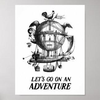 Poster de la aventura del globo del aire caliente