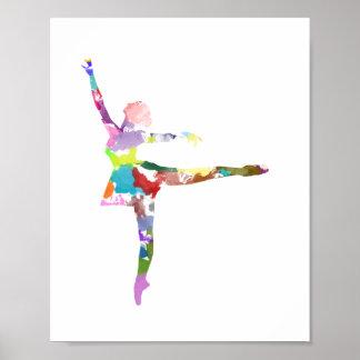 Poster de la bailarina del Watercolour Póster