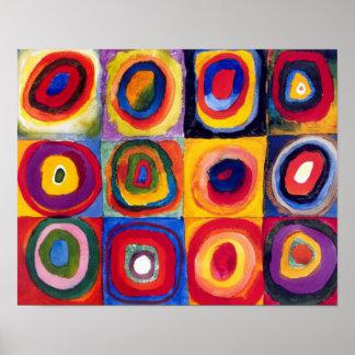 Póster Poster de la bella arte de los círculos concéntric
