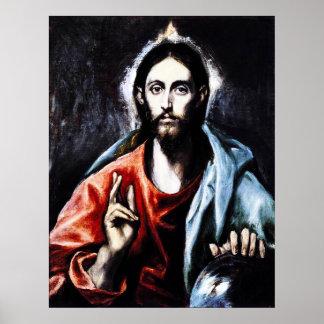 Poster de la bendición de El Greco Cristo