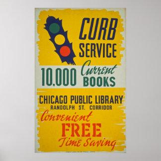 Poster de la biblioteca pública del vintage póster