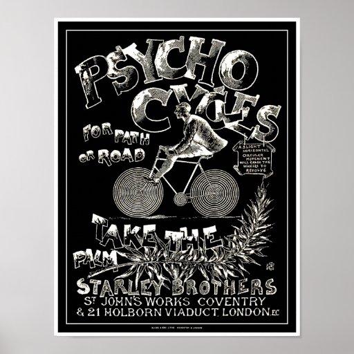Poster de la bicicleta del vintage: Ciclos psicos