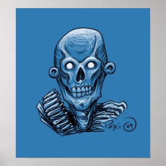 Poster de la cabeza del cráneo del zombi