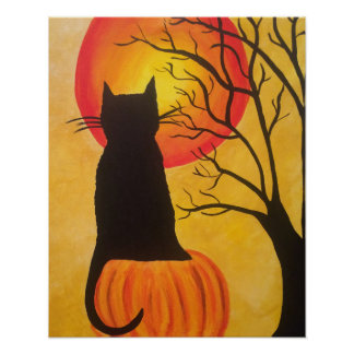 Poster de la calabaza del gato negro de Halloween Póster