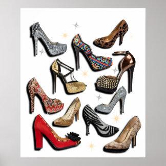 Poster de la chispa del collage del zapato del tac