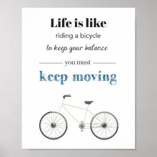 Poster de la cita de la bicicleta póster