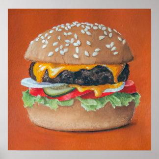 Poster de la cocina del ejemplo de la hamburguesa póster