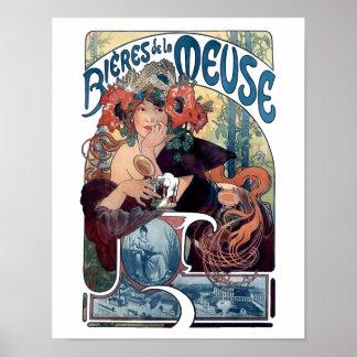 Poster de la féretro de la cerveza de Mucha