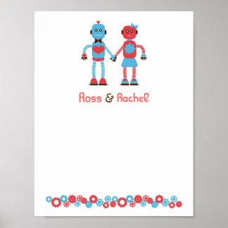 Poster de la firma del boda del amor del robot