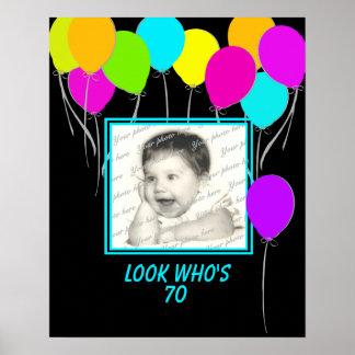 Poster de la foto del globo del cumpleaños