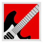 Poster de la guitarra eléctrica del arte pop