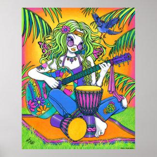 Poster de la hada del Hippie de la guitarra del ar