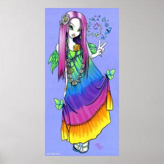 Poster de la hada del Hippie de la paz del arco ir