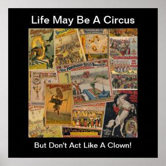 Poster de la impresión del circo del vintage