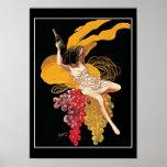 Poster de la impresión del vintage de las uvas de