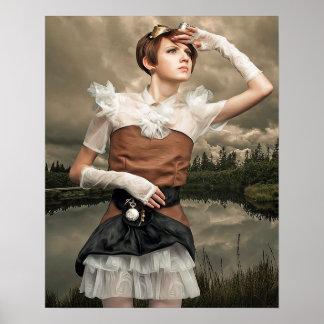 Poster de la mujer de Steampunk del arte de la