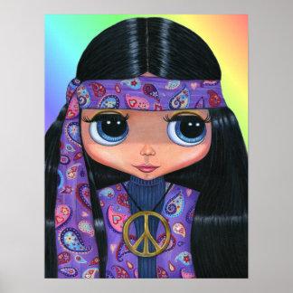 Poster de la muñeca del Hippie de Paisley Póster