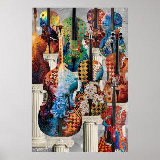 Poster de la música del violoncelo, arte de la